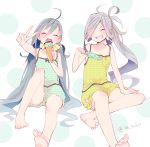 2girls ahoge alternate_costume asashimo_(kantai_collection) barefoot blue_camisole blue_shorts casual closed_eyes colis eating facing_viewer food full_body grey_hair grin hair_between_eyes hair_over_one_eye ice_cream kantai_collection kiyoshimo_(kantai_collection) long_hair low_twintails multiple_girls open_mouth polka_dot polka_dot_background polka_dot_camisole polka_dot_shorts ponytail puffy_shorts round_teeth sharp_teeth shorts silver_hair smile teeth twintails twitter_username upper_teeth v white_background yellow_camisole yellow_shorts