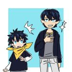 2boys atlus bandanna black_hair blue_eyes cardigan child commentary dual_persona english_commentary fang gijinka looking_at_another male_focus megami_tensei morgana_(persona_5) multiple_boys pants persona persona_5 persona_5_the_royal personification soap-on-a-stick sparkle surprised white_pants yellow_bandana