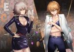2girls absurdres belt blonde_hair blue_bow blue_bra bow bra braid breasts brown_eyes cigarette cleavage closed_mouth collar collarbone collared_shirt denim eyebrows eyebrows_visible_through_hair fate/grand_order fate_(series) frown green_eyes hand_on_hip highres holding holding_cigarette huge_filesize jeanne_d'arc_(alter)_(fate) jeanne_d'arc_(fate) jeanne_d'arc_(fate)_(all) jeans joe_(j_studio) large_breasts long_hair long_sleeves looking_away looking_down medium_breasts multiple_girls pants shirt short_hair smoke smoking spiked_collar spikes sword underwear very_long_hair weapon white_hair white_shirt