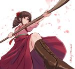 1girl bow brown_footwear brown_hair cherry_blossoms commentary_request cross-laced_footwear drill_hair hair_bow hakama harukaze_(kantai_collection) japanese_clothes kantai_collection kimono mayomaru1 meiji_schoolgirl_uniform naginata perspective petals pink_kimono polearm ponytail pose red_bow red_eyes red_hakama simple_background solo weapon white_background