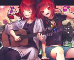 2girls :d acoustic_guitar arm_support arm_up bangs beamed_eighth_notes black_choker black_legwear black_shirt bracelet chains choker closed_eyes clothes_writing collarbone commentary_request denim denim_shorts eighth_note eyebrows_visible_through_hair feet_out_of_frame guitar headphones headphones_around_neck heart hecatia_lapislazuli highres holding holding_instrument horikawa_raiko instrument jacket jewelry letterboxed long_sleeves midriff_peek multiple_girls musical_note nail_polish open_clothes open_jacket open_mouth outside_border pantyhose polos_crown purple-framed_eyewear red_eyes red_nails redhead shirt shometsu-kei_no_teruru short_hair short_sleeves shorts side_slit sitting skirt smile sunglasses t-shirt touhou white_jacket white_skirt