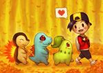 1boy autumn_leaves backpack backwards_hat bag baseball_cap black_hair blush chikorita closed_eyes commentary creature creatures_(company) cyndaquil english_commentary fangs following from_side game_freak gen_2_pokemon gold_(pokemon) hat heart highres long_sleeves nintendo outdoors pokemon pokemon_(creature) pokemon_following_person profile red_eyes ry-spirit shoes signature spoken_heart totodile walking