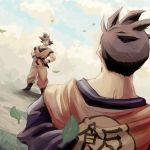2boys amputee black_hair blue_sky boots clothes_lift clothes_writing clouds cloudy_sky commentary_request day dougi dragon_ball dragonball_z dutch_angle facing_away father_and_son full_body hands_on_hips happy multiple_boys no_eyes open_mouth outdoors sky smile son_gohan_(future) son_gokuu spiky_hair spr time_paradox twitter_username upper_body wind wind_lift wristband