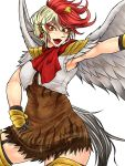 1girl armpits bird bird_tail bird_wings blonde_hair breasts brown_dress capelet chick chick_on_head chicken clenched_hand colored_eyelashes commentary_request covered_navel dress ear_piercing earrings eyeliner facepaint feathered_wings feathers fighting_stance garter_straps highres jewelry looking_at_viewer makeup medium_breasts multicolored_hair navel niwatari_kutaka open_mouth orange_eyes piercing red_eyes red_scarf redhead ryuuichi_(f_dragon) scarf short_dress short_hair shoulder_armor simple_background sleeveless smile solo spaulders sun_earrings thigh-highs toned touhou two-tone_hair war_paint white_background white_capelet wings yellow_legwear zettai_ryouiki