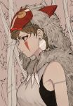 1girl bare_shoulders breasts brown_eyes brown_hair earrings facial_mark forest fur_trim highres hiranko jewelry mask mask_on_head mononoke_hime nature san solo