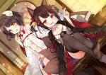 2girls :d akagi-chan_(azur_lane) akagi_(azur_lane) animal_ears azur_lane bare_shoulders bell black_hair black_kimono black_legwear blush breasts brown_hair collarbone dress eyebrows_visible_through_hair fang feet fox_ears fox_girl fox_tail had hair_bell hair_ornament hakama_skirt hiei-chan_(azur_lane) hiei_(azur_lane) horns indoors japanese_clothes kimono kurot long_sleeves looking_at_viewer multiple_girls multiple_tails open_mouth pleated_skirt red_eyes red_skirt short_dress short_hair skirt small_breasts smile tail thigh-highs twintails white_dress wide_sleeves yellow_eyes younger