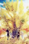 4boys :d absurdres autumn autumn_leaves black_footwear black_gloves black_hair black_pants blue_shirt blue_sky closed_eyes day facing_another facing_away ginkgo gloves highres huge_filesize leaning_forward looking_at_another male_focus multiple_boys ookurikara open_mouth outdoors pants rake seikai_meguru shirt shokudaikiri_mitsutada sky smile standing standing_on_one_leg taikogane_sadamune touken_ranbu tree tsurumaru_kuninaga white_footwear white_hair white_shirt