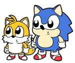 2boys :o animal antenna_hair bkub bkub_(style) fox fur gloves hedgehog male_focus multiple_boys multiple_tails no_humans nose red_footwear sega shoes simple_background sonic sonic_the_hedgehog tail tails_(sonic) two_tails white_background