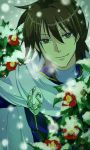 1boy brown_eyes brown_hair cape densetsu_no_yuusha_no_densetsu eyebrows_visible_through_hair flower hair_between_eyes highres jamu_(runtatta) looking_at_viewer male_focus red_flower ryner_lute shiny shiny_hair short_hair smile snow snowing solo uniform white_cape