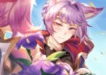1boy 1girl aki663 animal_ears bangs blue_sky blurry_foreground blush closed_mouth day erune esser eyebrows_visible_through_hair flower granblue_fantasy highres huge_filesize long_hair looking_at_viewer pink_hair purple_hair quatre_(granblue_fantasy) red_eyes short_hair sky wind