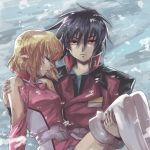 1boy 1girl black_hair blonde_hair boots bruise carrying closed_eyes crying crying_with_eyes_open frown gundam gundam_seed gundam_seed_destiny injury jacket looking_at_viewer military military_jacket military_uniform pink_jacket princess_carry red_eyes red_jacket shinn_asuka short_hair shoulder_cutout stellar_loussier tears thigh-highs thigh_boots uniform white_footwear yuuka_seisen