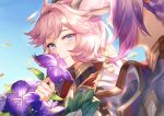 1boy 1girl aki663 animal_ears bangs blue_eyes blue_sky blurry_foreground blush day erune esser eyebrows_visible_through_hair flower granblue_fantasy highres huge_filesize long_hair looking_at_viewer pink_hair purple_hair quatre_(granblue_fantasy) short_hair sky smile wind
