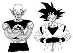 2boys antennae black_eyes black_hair black_shirt clenched_teeth clothes_writing commentary_request crossed_arms dougi dragon_ball dragon_ball_(classic) dragonball_z frown grin hands_on_hips head_tilt highres lee_(dragon_garou) looking_at_another monochrome multiple_boys piccolo_daimaou pointy_ears serious shirt simple_background sleeveless sleeveless_shirt smile son_gokuu spiky_hair teeth time_paradox upper_body white_background wristband