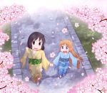 2girls :d black_hair blonde_hair blue_eyes blush cherry_blossoms commission eyebrows_visible_through_hair hand_holding happy japanese_clothes kimono long_hair multiple_girls nichijou open_mouth petals professor_shinonome shinonome_nano short_hair smile techsupportdog tree tree_branch walking