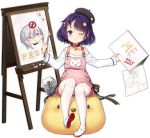1girl alternate_costume azur_lane bangs brush bush_(azur_lane) canvas_(object) full_body hair_ornament hairclip hat looking_at_viewer official_art one_eye_closed overall_skirt overalls paint paintbrush painting philomelalilium purple_hair short_hair silver_hair tehepero thigh-highs tongue tongue_out transparent_background violet_eyes washington_(azur_lane) white_legwear