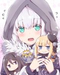 1boy 2girls @_@ add_(lord_el-melloi_ii) ahoge black_eyes black_hair black_suit blonde_hair blue_eyes blue_scarf blush character_doll cloak closed_mouth creature cube demon_tail doll eyebrows_visible_through_hair fang fate/grand_order fate_(series) flower formal fur-trimmed_cloak fur_trim gray_(lord_el-melloi_ii) green_eyes grey_hair hair_between_eyes hair_flower hair_ornament hat holding holding_doll hood hood_up hooded_cloak long_hair looking_at_viewer lord_el-melloi_ii lord_el-melloi_ii_case_files mini_hat multiple_girls necktie neckwear open_mouth red_neckwear reines_el-melloi_archisorte rioshi rose scarf short_hair suit tail teeth waver_velvet white_flower white_rose