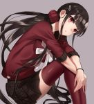 1girl bangs black_hair blunt_bangs commentary_request danganronpa ear_piercing eyebrows_visible_through_hair from_side grey_background hair_ornament hairclip harukawa_maki long_hair looking_at_viewer low_twintails minami_ikkei mole mole_under_eye new_danganronpa_v3 piercing plaid plaid_skirt pleated_skirt red_eyes red_legwear red_scrunchie red_shirt school_uniform scrunchie serafuku shirt short_sleeves simple_background skirt solo thigh-highs twintails very_long_hair wristband