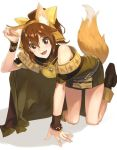1girl animal_ears bow breastplate brown_eyes brown_hair cape dress dyute_(fire_emblem) fake_animal_ears fake_tail fang fire_emblem fire_emblem_echoes:_mou_hitori_no_eiyuuou fire_emblem_heroes fox_ears fox_tail hair_bow ichikei long_hair nintendo open_mouth ponytail short_dress simple_background solo tail white_background
