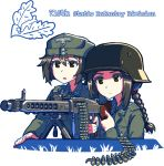 2girls black_hair braid brown_eyes erica_(naze1940) gun hair_between_eyes hat helmet holding holding_gun holding_weapon long_hair machine_gun military military_uniform multiple_girls open_mouth original short_hair transparent_background uniform weapon