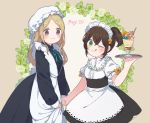 2girls 697_mono_71 alternate_costume apron black_dress blonde_hair blush brown_hair dress enmaided green_eyes hair_between_eyes jewelry long_hair looking_at_viewer maid maid_apron maid_headdress multiple_girls necklace octopath_traveler ophilia_(octopath_traveler) ponytail puffy_short_sleeves puffy_sleeves ribbon short_hair short_sleeves simple_background smile tressa_(octopath_traveler) wrist_cuffs