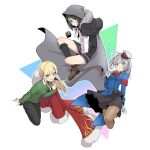 1boy 2girls add_(lord_el-melloi_ii) ahoge black_hair blonde_hair blush cape cloak cosplay costume_switch crossdressing fate/grand_order fate_(series) fur_trim gray_(lord_el-melloi_ii) gray_(lord_el-melloi_ii)_cosplay green_eyes grey_hair highres hood hooded_cloak lord_el-melloi_ii_case_files multiple_girls necktie pants pantyhose pleated_skirt reines_el-melloi_archisorte reines_el-melloi_archisorte_(cosplay) skirt waver_velvet waver_velvet_(cosplay)