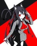 1girl animal_ear_fluff animal_ears ascot bangs black_hair breasts cat_ears cat_girl cat_tail chisuzu_mei collared_shirt commentary_request eyebrows_visible_through_hair grey_shirt grey_skirt hair_between_eyes hair_ribbon hand_up highres long_hair long_sleeves looking_at_viewer medium_breasts multiple_tails nagato-chan parted_lips paryi_project pleated_skirt red_eyes red_neckwear red_ribbon ribbon shirt skirt solo tail tail_raised two_side_up two_tails v-shaped_eyebrows very_long_hair virtual_youtuber