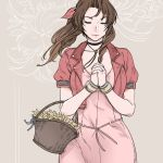 1girl aerith_gainsborough basket bow braid brown_hair closed_eyes cropped_jacket dress final_fantasy final_fantasy_vii flower hair_ribbon hands_clasped long_hair own_hands_together pink_bow pink_dress ribbon sao_(saowee) single_braid solo