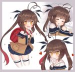 1girl antenna_hair bag bangs brown_hair candy closed_eyes commentary_request eyebrows_visible_through_hair finesoda food girls_frontline gradient_hair heart holding_lollipop lollipop long_hair long_sleeves lying m14_(girls_frontline) multicolored_hair multiple_views on_side open_mouth pleated_skirt redhead school_bag skirt sleeping twintails two-tone_hair wide_sleeves yellow_eyes younger