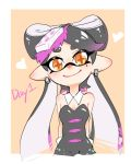+_+ 1girl aori_(splatoon) arms_behind_back black_hair black_jumpsuit breasts brown_eyes chinese_commentary cleavage closed_mouth commentary_request cropped_torso detached_collar domino_mask earrings english_text eyebrows_visible_through_hair food food_on_head gloves gradient_hair highres jewelry long_hair madaga_(animaofmoon) mask medium_breasts mole mole_under_eye multicolored_hair object_on_head outside_border pointy_ears purple_hair smile solo splatoon splatoon_(series) splatoon_1 strapless sushi tentacle_hair very_long_hair white_gloves yellow_background