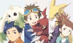 1girl brown_eyes brown_hair closed_mouth commentary_request digimon digimon_tamers guilmon highres li_jianliang looking_at_viewer makino_ruki matsuda_takato multiple_boys renamon short_hair simple_background takase_(takase1214) terriermon