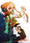 1girl bike_shorts black_footwear black_shorts blonde_hair blood blood_splatter bloody_clothes boots domino_mask earmuffs fangs grey_eyes highres injury ink_tank_(splatoon) inkling long_hair mask paint_splatter pointy_ears shoes shorts solo splatoon splatoon_(series) splatoon_2 squidbeak_splatoon suction_cups tentacle_hair tona_bnkz vest waving_arm yellow_coat yellow_vest