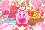 bird blipper chick commentary_request dyna_blade dyna_chick flower gift goggles heart kirby kirby_(series) letter looking_at_viewer love_letter mamanti mother's_day nelly_(kirby) nest nintendo no_humans nruff official_art outline pitch_(kirby) pitch_mama presenting rose smile white_outline