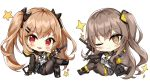 2girls :d ;) bangs black_bow black_footwear black_gloves black_jacket black_skirt blush boots bow brown_eyes brown_hair brown_jacket brown_legwear brown_ribbon chibi closed_mouth cross-laced_footwear dress_shirt eyebrows_visible_through_hair fingerless_gloves girls_frontline gloves grey_skirt gun h&k_ump45 h&k_ump9 hair_between_eyes hair_bow hair_ornament hairclip hand_in_pocket jacket lace-up_boots legs_crossed multiple_girls narae neck_ribbon one_eye_closed open_clothes open_jacket open_mouth pantyhose pleated_skirt red_eyes ribbon scar scar_across_eye shirt sidelocks simple_background sitting skirt smile sparkle submachine_gun twintails ump45_(girls_frontline) ump9_(girls_frontline) weapon white_background white_shirt