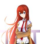 1girl belt blue_eyes brown_coat coat collared_shirt cropped_arms eyebrows_visible_through_hair floating_hair hair_between_eyes highres long_hair looking_at_viewer makise_kurisu necktie open_clothes open_coat red_neckwear redhead roi_(liu_tian) shirt simple_background solo steins;gate upper_body very_long_hair white_background white_shirt wing_collar