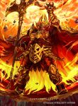 1boy arm_up armor axe beard cherokee_(1021tonii) company_name crown facial_hair fire fire_emblem fire_emblem_cipher fire_emblem_heroes holding holding_axe holding_weapon male_focus open_mouth red_eyes redhead solo surtr_(fire_emblem) weapon