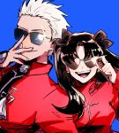 1boy 1girl adjusting_eyewear archer black_hair blue_background fate/stay_night fate_(series) hair_ribbon hariwo20 heart heart-shaped_eyewear open_mouth ribbon simple_background smile sunglasses sweater tohsaka_rin twintails white_hair