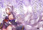 1girl animal_ear_fluff animal_ears bangs bare_shoulders bell black_kimono blurry blurry_background blurry_foreground breasts closed_mouth commentary_request cowboy_shot depth_of_field eyebrows_visible_through_hair flower fox_ears fox_girl fox_mask fox_tail hair_bell hair_between_eyes hair_ornament holding holding_mask japanese_clothes jingle_bell kimono kyuubi long_hair long_sleeves looking_away mask mask_removed multiple_tails obi off_shoulder original purple_flower red_eyes sash short_kimono sidelocks silver_hair sleeves_past_fingers sleeves_past_wrists small_breasts solo tail usagihime very_long_hair wide_sleeves wisteria