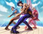 3boys animal_print artist_name black_hair blue_shirt boots brown_footwear clouds cloudy_sky crossed_arms dancing day formal guido_mista headband jojo_no_kimyou_na_bouken knee_boots long_sleeves looking_at_viewer meme multicolored_footwear multicolored_pants multiple_boys narancia_ghirga orange_headband orange_headwear orange_pants orange_skirt orange_wristband pannacotta_fugo pants purple_footwear purple_pants purple_shirt rakavka red_footwear red_pants shirt skirt sky sleeveless suit tank_top tiger_print torture_dance tuxedo vento_aureo white_hair wooden_floor wringing_clothes wristband
