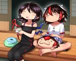 3girls :3 :d ^_^ asymmetrical_wings bangs bare_shoulders barefoot black_hair black_pants black_shirt black_shorts blue_wings blush blush_stickers closed_eyes closed_eyes clothes_writing collarbone commentary_request feet_out_of_frame full_body hair_between_eyes horns houjuu_nue indian_style kijin_seija leggings multicolored_hair multiple_girls off-shoulder_shirt off_shoulder open_mouth outdoors pants red_wings redhead shimizu_pem shirt short_hair short_sleeves shorts sitting sliding_doors smile snake streaked_hair tatami touhou translation_request white_hair white_shirt wings
