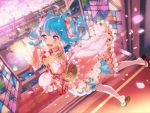 bang_dream! blue_hair blush dress long_hair matsubara_kanon smile spring violet_eyes