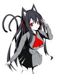 1girl animal_ear_fluff animal_ears ascot bangs black_hair breasts cat_ears cat_girl cat_tail chisuzu_mei collared_shirt eyebrows_visible_through_hair grey_shirt grey_skirt hair_between_eyes hair_ribbon hand_up highres long_hair long_sleeves looking_at_viewer medium_breasts multiple_tails nagato-chan parted_lips paryi_project pleated_skirt red_eyes red_neckwear red_ribbon ribbon shirt simple_background skirt solo tail tail_raised two_side_up two_tails v-shaped_eyebrows very_long_hair virtual_youtuber white_background