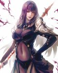 1girl breasts cleavage fate/grand_order fate_(series) hand_on_hip highres kaburagi_yasutaka lipstick makeup navel polearm purple_hair purple_lipstick red_eyes scathach_(fate)_(all) scathach_(fate/grand_order) see-through shoulder_armor smirk solo spaulders spear weapon white_background