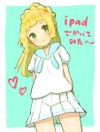 1girl :< aqua_background arms_behind_back blonde_hair closed_mouth creatures_(company) game_freak green_eyes highres lillie_(pokemon) long_hair nintendo peppedayo_ne pokemon pokemon_(game) pokemon_sm ponytail shirt short_sleeves simple_background skirt solo white_shirt white_skirt