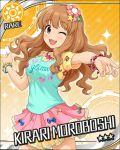 blush brown_eyes character_name dress idolmaster idolmaster_cinderella_girls long_hair moroboshi_kirari orange_hair smile stars wink