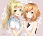 2girls blue_eyes blush creatures_(company) game_freak green_eyes halter_top halterneck hand_up high_ponytail hood hoodie light_brown_hair lillie_(pokemon) long_hair looking_at_viewer looking_to_the_side mizuki_(pokemon) multiple_girls nintendo open_mouth pink_background pokemon pokemon_(game) pokemon_sm rupinesu short_hair signature smile