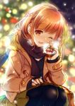 1girl ;d black_legwear black_scarf blurry_foreground brown_coat brown_eyes brown_hair christmas_tree coat duffel_coat eyebrows_visible_through_hair highres holding koyama_sao lens_flare long_sleeves looking_at_viewer miniskirt one_eye_closed open_clothes open_coat open_mouth original outdoors pantyhose pleated_skirt scarf short_hair skirt smile snow_globe solo squatting winter_clothes winter_coat yellow_skirt