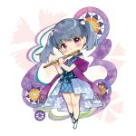 1girl bangs bare_shoulders blue_dress blue_hair blush character_request cherry_blossom_print chibi closed_mouth dress eyebrows_visible_through_hair floral_print flute hair_ornament head_tilt holding holding_instrument instrument looking_at_viewer lowres miyabi_akino music nadeshiko_doremisora playing_instrument pleated_dress purple_scarf scarf short_hair short_twintails sleeveless sleeveless_dress smile solo twintails violet_eyes