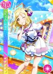 blonde_hair blush character_name dress love_live!_school_idol_festival love_live!_sunshine! ohara_mari short_hair smile wink yellow_eyes