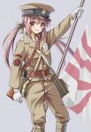 1girl absurdres anchor_symbol ankle_wrap arisaka arm_up bag belt bolt_action canteen flag flagpole gloves gun hair_ribbon hat highres holding holding_flag imperial_japanese_navy japanese_flag long_hair longmei_er_de_tuzi looking_at_viewer military military_uniform open_mouth original peaked_cap purple_hair ribbon rifle rising_sun satchel sling smile soldier solo sunburst twintails uniform violet_eyes weapon weapon_on_back white_gloves world_war_ii