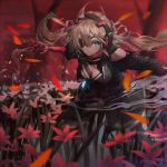 1girl album_cover bangs between_breasts black_coat black_pants black_shirt blonde_hair blue_eyes breasts coat cover expressionless eyepatch floating_hair gesoking06 hair_between_eyes hair_ribbon hands_up headphones highres large_breasts long_hair long_sleeves looking_at_viewer low_twintails mechanical_arm messy_hair open_clothes open_coat original outdoors pants ribbon shirt sidelocks standing strap_between_breasts twintails white_ribbon